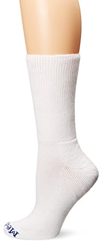 PEDS Women's Diabetic Extra Wide Non-Binding Ribbed Top Crew Socks 1 Pair, White, (Ribbed Diabetic Socks)