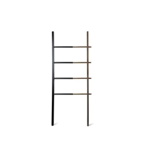 Umbra Hub Ladder Freestanding Towel Rack, Black/Walnut