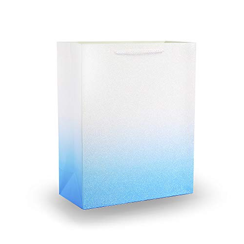 UNIQOOO 12Pcs Small Blue Glitter Ombre Sparkle Gift Bags, 9x7x4 inch, Shopping Gift Bag Designs for Christmas, New Year, Birthday, Holiday, Party, Wedding