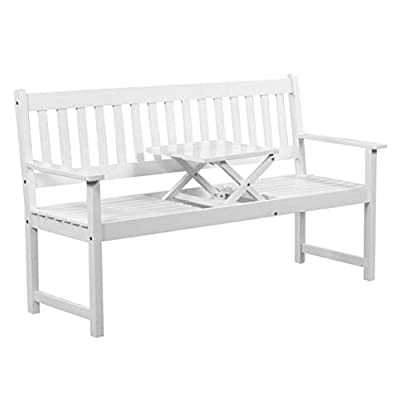 """K&A Company Outdoor Bench, Garden Bench with Pop-up Table 62.2"""" Solid Acacia Wood White"""