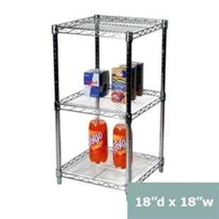 18''d x 18''w Chrome Wire Shelving with 3 Shelves by Shelving Inc