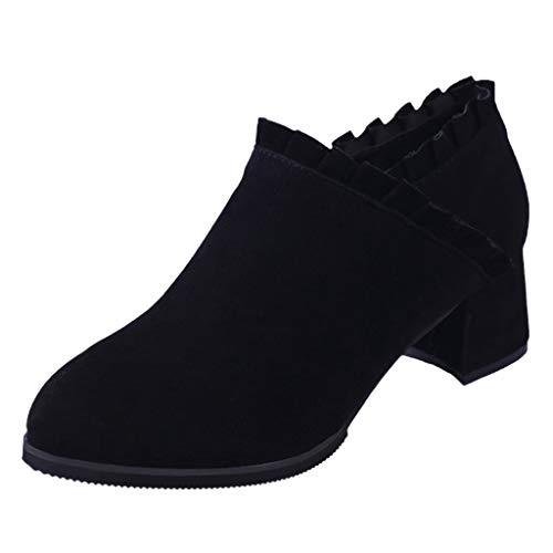 (〓COOlCCI〓Ankle Boots for Women Slip On Loafers Pointed Toe Chunky Block Low Heel Short Boots Western Boot Chelsea Boot Black)