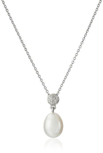 Sterling Silver 8-8.5mm White Drop Freshwater Cultured Pearl Diamond Cluster Pendant Necklace Diamond Pearl Drop Necklace