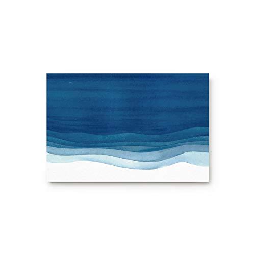 SIGOUYI Entrance Door Mat Low Profile Rubber Non-Slip Welcome Front Floor Rug, Shoe Scraper Runner Doormats for Entry Way/Indoor/Kitchen - 30 x 18 Inch Abstract Art Blue Waves