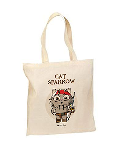 c5be51654 Okemaku - Tote Bag Mensaje: 'Cat Sparrow' Parodia Piratas del Caribe - Bolsa