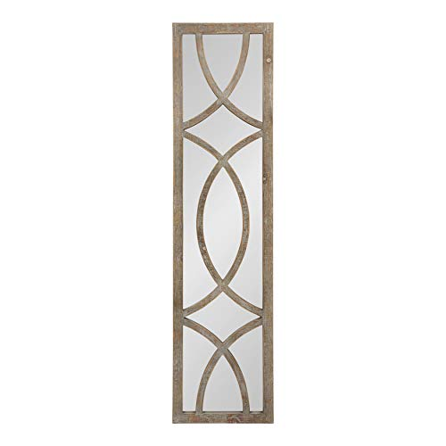 Kate and Laurel Tolland Wood Framed Panel Wall Mirror, 12x48, Brown