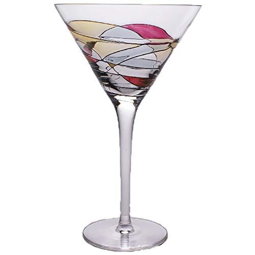 - Set Of Four (4) - Romanian Crystal Glasses/Barware - Black Swirl/Stained Glass Pattern - Milano Noir Design - 12 Oz Martini Glassware