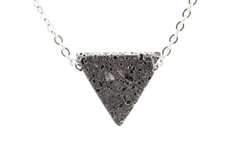 Essential Oil Diffuser Necklace Triangle Lava Stone Minimalist Jewelry - 18