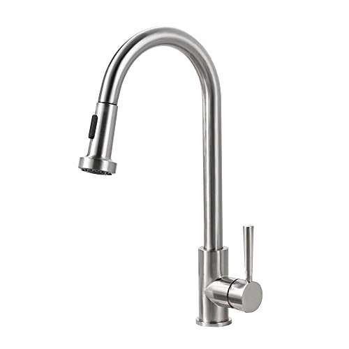 Yohom Commercial Lead-Free Solid Brass Kitchen Sink Faucets Single Handle with Pull Down Dual Function Sprayer,Modern Single Hole Kitchen Faucet Brushed Nickel with cUPC NSF Certified by YOHOM