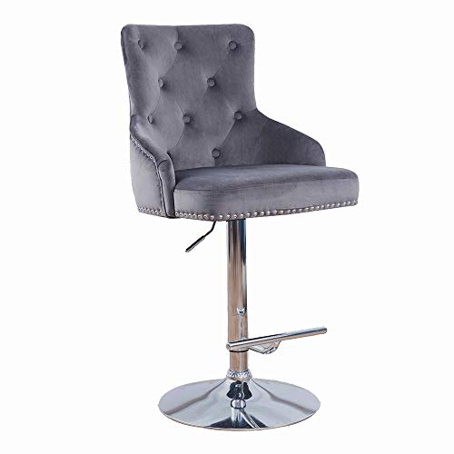 DMF Velvet Bar Stools Chairs with High Back Arms, Height Adjustable in Kitchen Dining Counter Room Fabric Barstools,Grey (Stools Grey Counter Fabric)