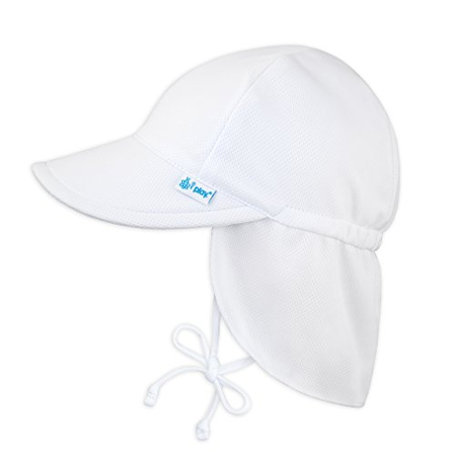 i play. Baby Girl's Breatheasy Flap Sun Protection Hat Hat, White, 9/18mo