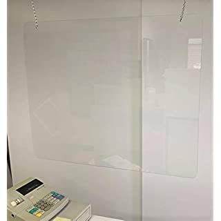 "Hanging Acrylic Plexiglass Shield for Counters, 36"" x 24"" Sneeze Shields Food Screen, Transaction Window for Employers, Barrier Against Coughing & Sneezing"