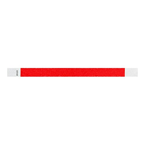 "WristCo Neon Red 3/4"" Tyvek Wristbands - 500 Pack Paper Wristbands For Events"