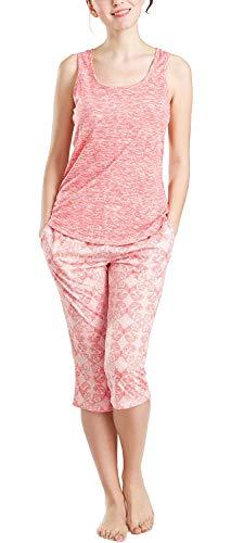 Summer Pajamas for Women, Cute Print Capris Pajama for Woman - Pjs Women Jersey Tank Top and Capri Jogger Pants Set Butterfly L