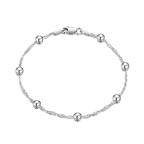 Amberta 925 Sterling Silver 1.4 Singapore Chain Bracelet with 4 mm Ball Beads Length 7.5 inch / 19 cm (7.5)