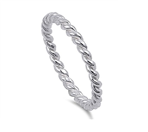 Sterling Silver Twisted Wire Rope Ring Size 6