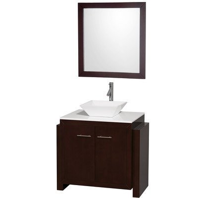 Hudson 36'' Single Bathroom Vanity Set Sink Choice: White Porcelain by Wyndham Collection by Wyndham Collection