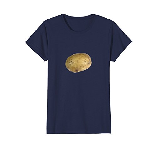 Womens Real Potato Photo Funny Starchy Vegetable Side Dish T-Shirt Small Navy