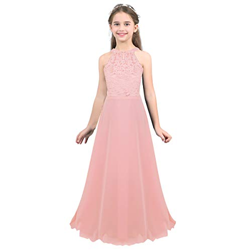 MSemis Girls' Princess Halter Neck Floor-Length Lace Chiffon A-Line Junior Bridesmaid Dress Pink Floor Length 12