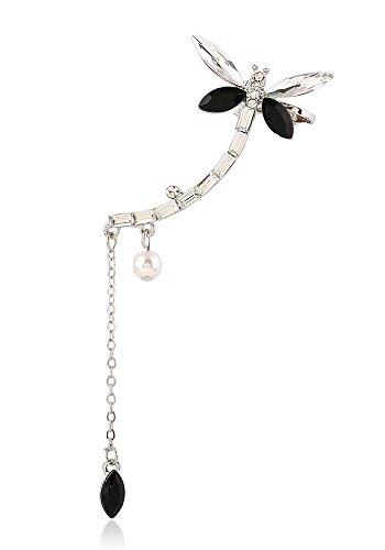 Qtalkie Fashion Silver Dragonfly Ear Bone Clip on Left Ear Cuff Earrings Pierced