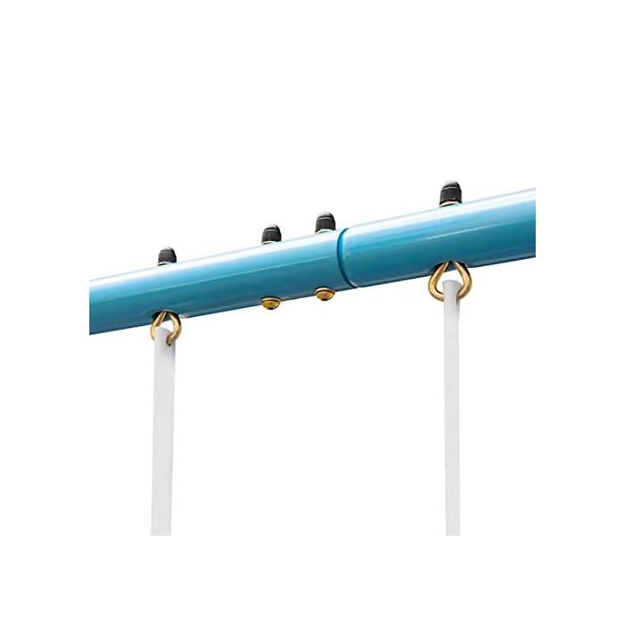 31nFAsRj9GL ROBUSTO Y ESTABLE: El columpio infantil de un oneConcept es adecuado para 4 niños de 3 a 8 años con un peso corporal total soportado de hasta 120 kg. RESISTENCIA AL CLIMA: Para asegurar que el columpio pueda permanecer fuera incluso en días en los que el clima no acompaña, los tubos están galvanizados y recubiertos de polvo para que no empiecen a oxidarse incluso después de fuertes lluvias. VUELA ALTO: El marco de balanceo hace que los corazones de los niños latan más rápido con tres estaciones a la vez. El Olav de oneConcept no sólo viene con dos columpios de tabla normales, sino que también ofrece un balancín adicional.