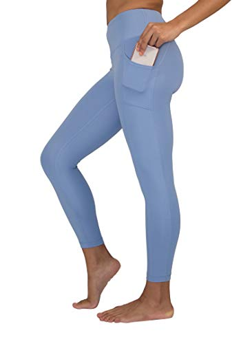Yogalicious High Waist Ultra Soft Lightweight 7/8 Leggings with Pockets - Bella Blue - ()