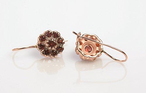 Handmade Garnet Earrings Flower Shaped in 14K Rose Gold Wire back with Hook and Lever, Designer Red Gemstone Earring