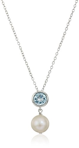 Sterling Silver Bezel Set Genuine Blue Topaz and Freshwater Cultured Pearl Drop Birthstone Pendant Necklace, 18