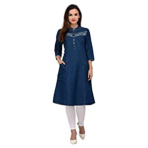 Style Souk Women's Denim Short Sleeves Triangle Printed Kurti with Pockets