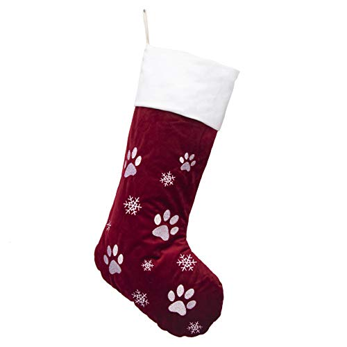 "GEX 21"" Pet Christmas Stockings Luxury Velvet Lovely Embroidery Pattern for Dog Family Decor Hanging Ornament for Xmas Holiday Party Decorations Gift-Red"