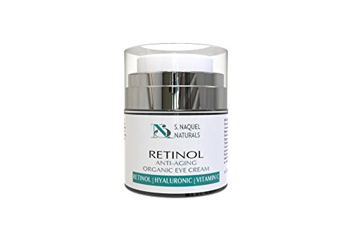 Organic Eye Cream - with Hyaluronic, Retinol and Vitamin C for Dark Circles - Wrinkles, bags, lines | Crows feet by S. NaQuel Naturals