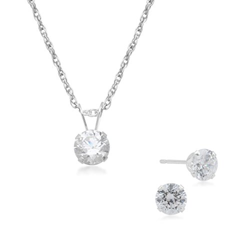 White Gold Pendant Earrings (Jewelili 10KT White Gold Swarovski Zirconia Solitaire Pendant Necklace And Stud Earrings Box Set)