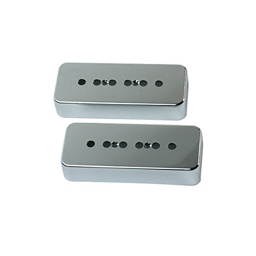 (A Pair of P-90 p90 Soap-bar Pickup Covers 50/52mm Pole Spacing , Plastic Chrome Plated)