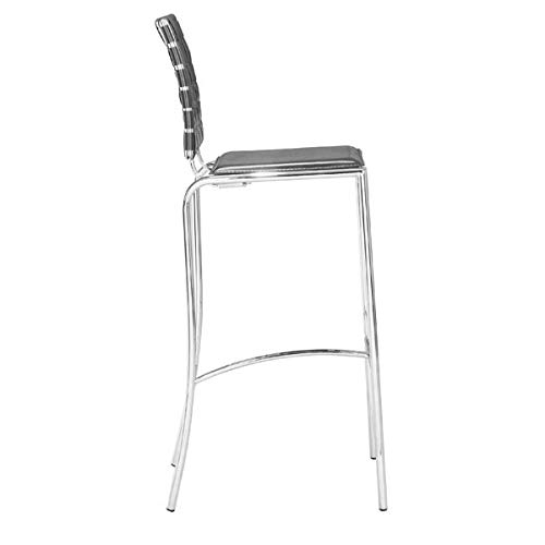 Zuo Modern 33072 Criss Cross Black Barstool (Set of 2), Has leatherette back straps and a flat seat with a chrome steel tube frame, 250 lbs. weight capacity
