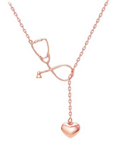 Greendou Gold Rose Gold Silver Plated Stethoscope Lariat Necklace,Heart and Stethoscope Pendant Doctor Nurse Jewelry Gift (Rose Gold)