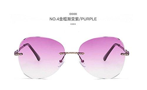 de señoras Europa y mar Gold LSHGYJ de gafas purple cerco gradually sol los sol moda Color frame tendencias sin metal cristalino de sol Unidos GLSYJ Estados gafas gafas wZZS0qaPn