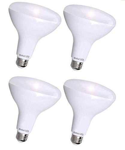 4 Pack Bioluz LED BR40 LED Bulb 3000K Soft White 90 CRI Dimmable UL-Listed CEC JA8 Title 20 24 Compliant 1000 Lumen Indoor/Outdoor Flood Lights (Pack of 4)