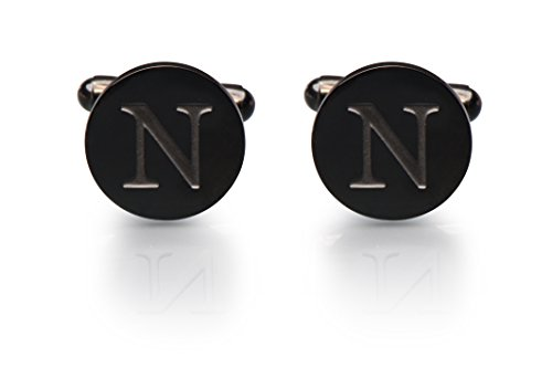 Men's Cobalt Black Engraved Initial Cufflinks with Gift Box– Premium Quality Personalized Alphabet Letter (N) (Solid Round Gold 14k Cufflinks)