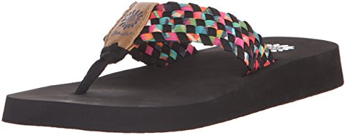 Yellow Box Women's Soleil Wedge Sandal, Black/Multi, 9 M US
