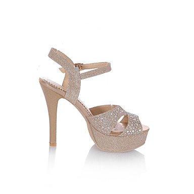 LvYuan Tacón Stiletto-Zapatos del club D'Orsay y Dos Piezas-Sandalias-Boda Vestido Fiesta y Noche-Semicuero Materiales Personalizados-Plata Oro Gold