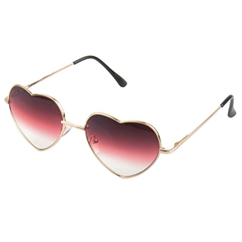 OULII Heart Shape Sunglass Fashion Metal Colored Glasses Shades for Women Female Ladies (Rose - Shades Heart
