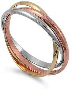 2mm/6mm .925 Sterling Silver Tri-color Gold, Rose, Silver Tone Interlocked Rolling Ring Bands