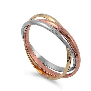 Amazoncom 2mm6mm 925 Sterling Silver Tricolor Gold Rose
