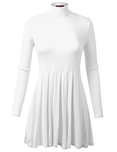 White Turtleneck Dress (Doublju Womens Basic Long Sleeve Turtleneck Flared Tunic Top WHITE)