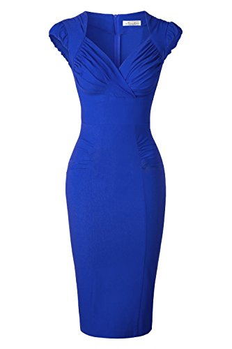 Newdow Lady's 50s Vintage V-Neck Capsleeve Pencil Dress (Medium, Sapphire)