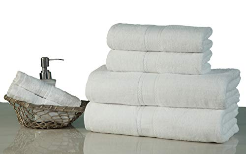 Premium 6 Piece Towel Set (White) Contains 2 Bath Towels, 2 Hand Towels and 2 Face Towels 100% Pure Cotton – Machine Washable, Hotel & SPA Quality, Super Soft Highly Absorbent Fast Drying