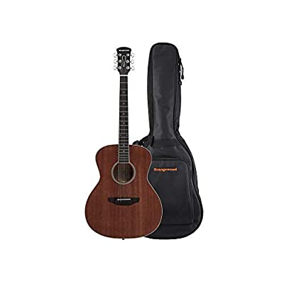 Orangewood Dana Mini/Travel Acoustic Guitar with Top, Ernie Ball Earthwood Strings