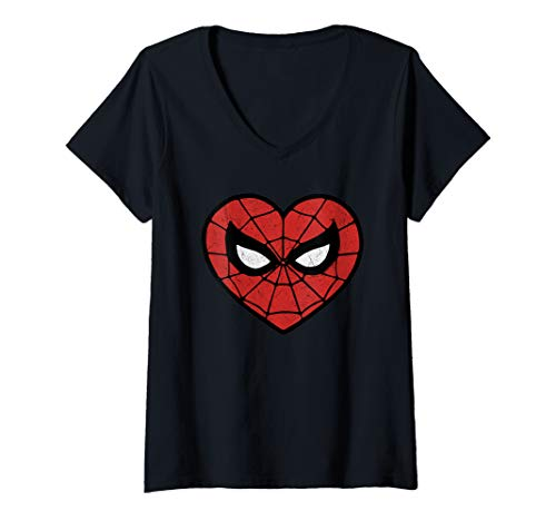 Womens Marvel Spider-Man Heart Shaped Mask Portrait V-Neck T-Shirt ()