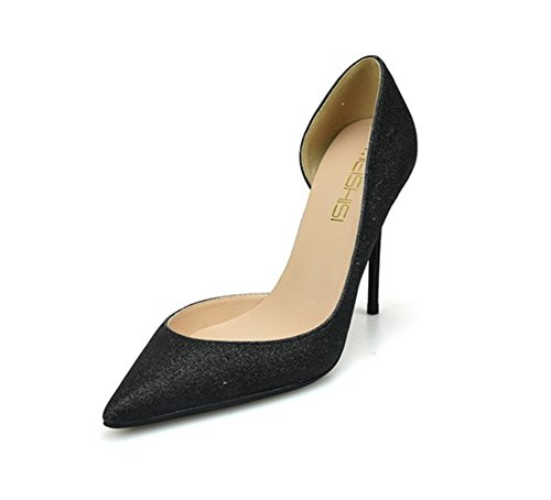 Size 4 High Wedding Bridal 3 7 Prom Heel Party Women's 6 Stiletto Toe ZPL 5 8 Black Shoes Court Sparkly Black Closed Pointed xZwnTqS