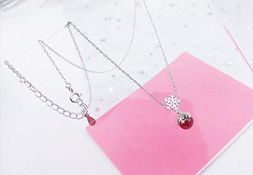 Elegant Womens100/% 925 Sterling Silver Necklace Red Zircon Snowflake Pendant Necklace Silver Chain 17 Inch choker Gift